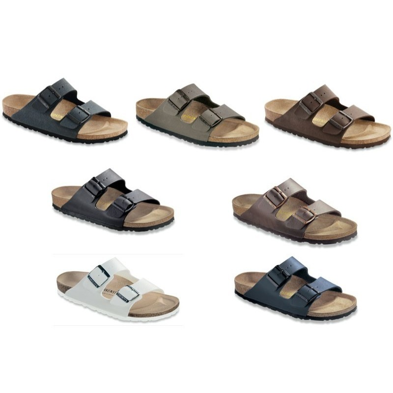 0639995cc97 Image is loading Birkenstock-Arizona-Birko-Flor-Sandals-black-white-blue-