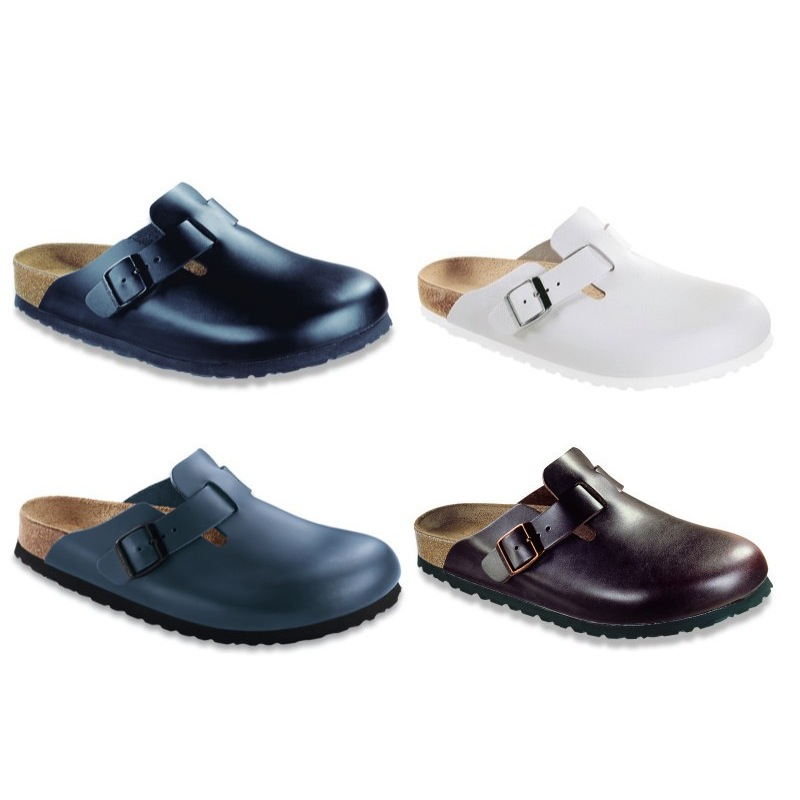 Birkenstock-Boston-Leather-Clogs-Soft-Footbed-black-white-brown-blue