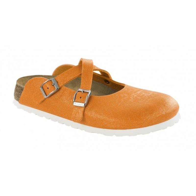 Birki Dorian Glitter 537433, Damen Sandalen, Orange (crinkle Orange), Eu 38