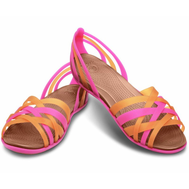 Crocs Huarache Flat Sandals Black Blue Pink Brown New